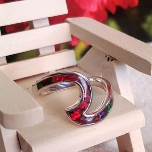 Wave Red Fire Opal Ring